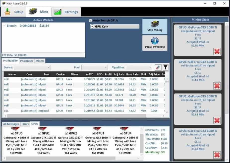 1080 ti mining rig 2 profits